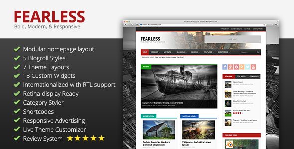 FEARLESS Fast Loading WordPress Theme