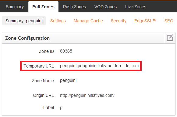 MaxCDN Temporary URL Example Screenshot