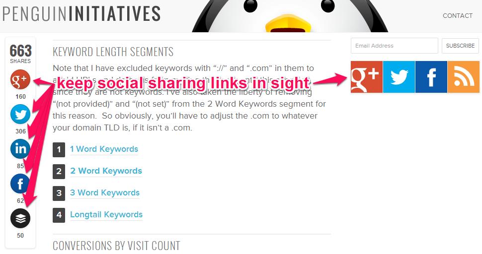 Keep social sharing links in sight