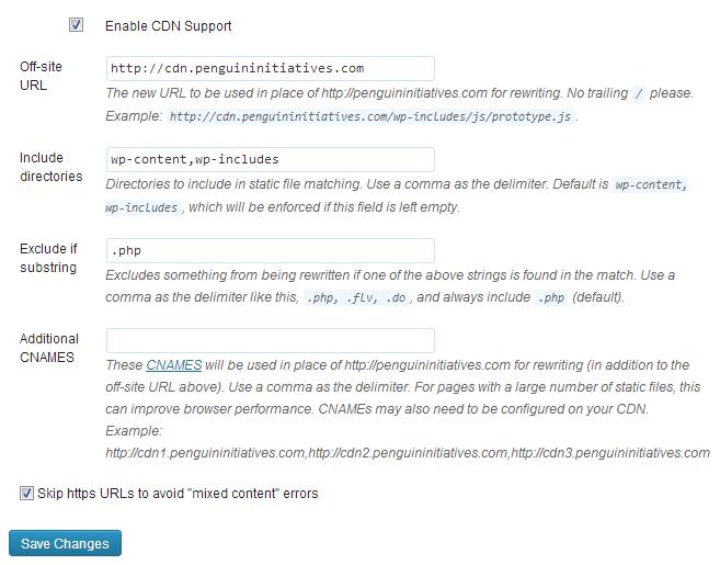 WP Super Cache CDN Settings Example Screenshot