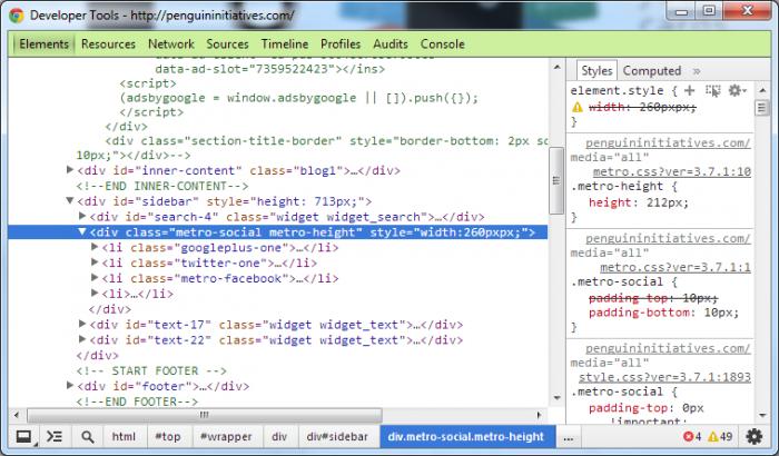 Inspect Element of WordPress Plugin in Google Chrome Browser Viewing Code Screenshot