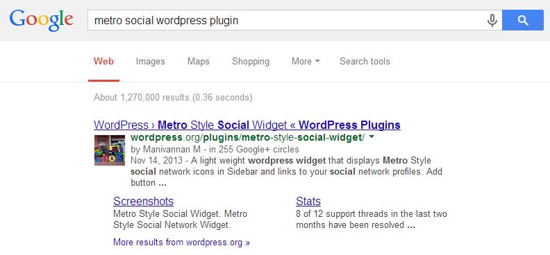 Google Results for WordPress Plugin's Class