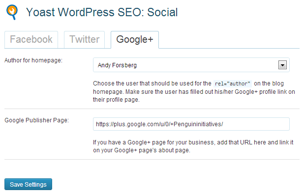 Yoast WordPress SEO Plugin Google Plus Settings