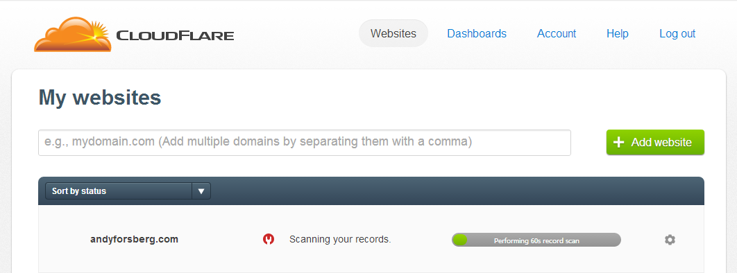 Wait For Cloudflare To Scan Your Domain's Current DNS Records