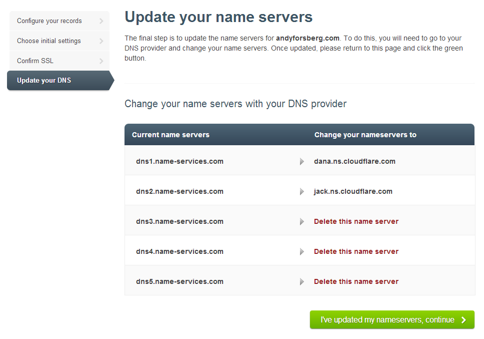 Update Your Name Servers To Point To Cloudflare