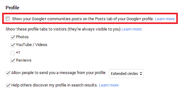 Google+ Community Posts Profile Display Settings Screenshot