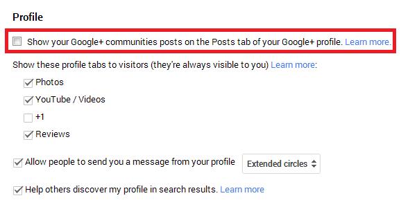 Google+ Community Posts Profile Display Settings Screenshot