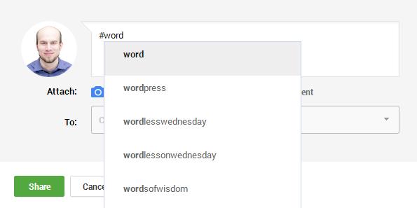 Google+ Hash Tag Suggestions Example Screenshot