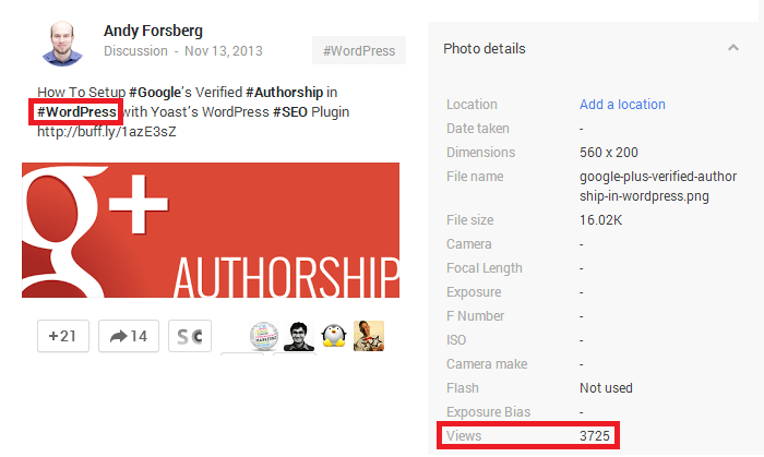 Google+ Image Post View Stats Example Screenshot