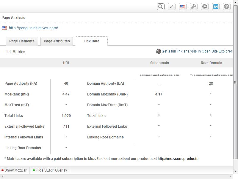Mozbar Chrome Extension Screenshot