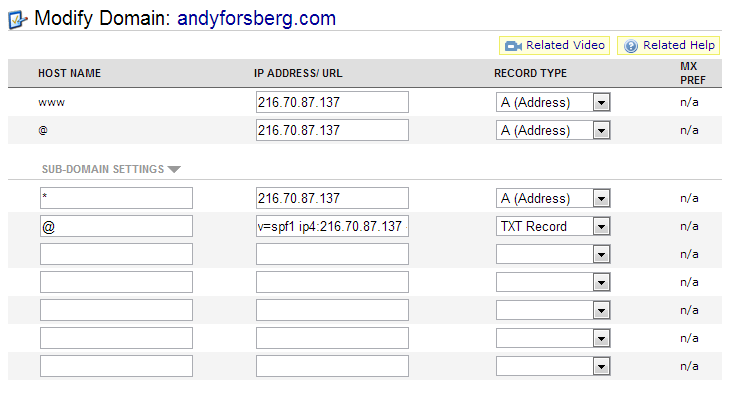 Current DNS Records on NameCheap
