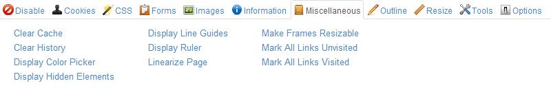 Web Developer Chrome Extension Screenshot