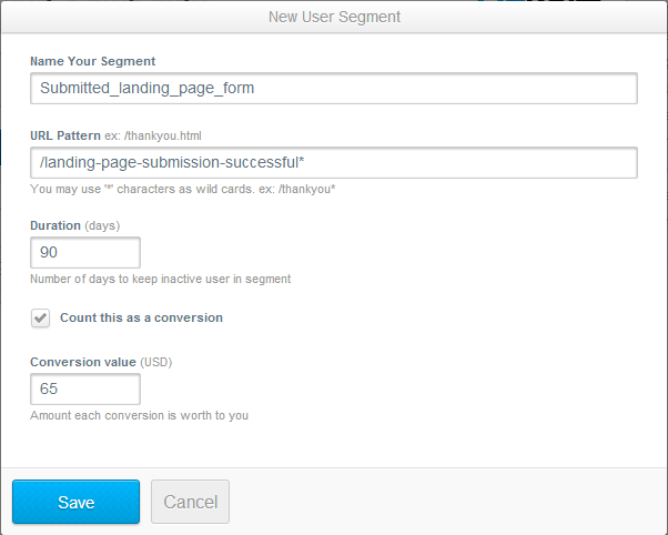 Create a new user segment for conversions that you don't want to retarget in AdRoll