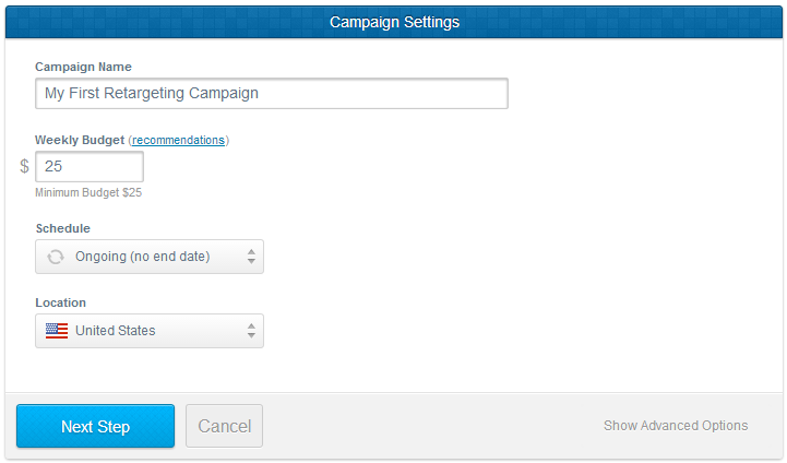 Create your first retargeting campaign in AdRoll