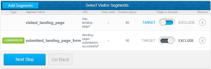 Exclude visitors who already converted from AdRoll