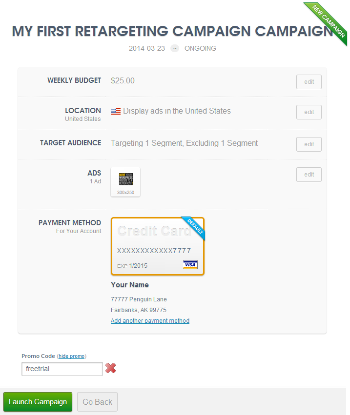 Lanch your first AdRoll retargeting campaign