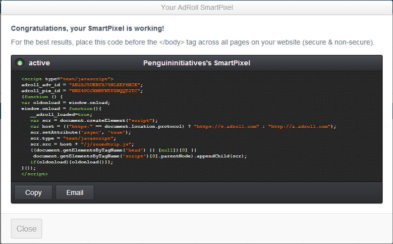 Install AdRoll Retargeting SmartPixel Code