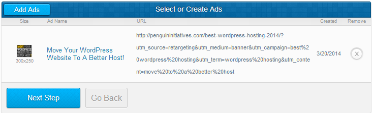 Upload your retargeting advertisements for your AdRoll campaign