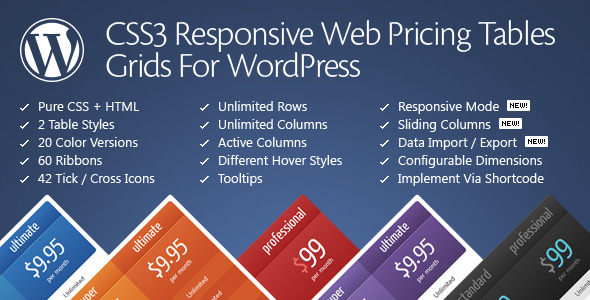 CSS3 Responsive Web Pricing Tables Grids Best Premium Pricing Tables WordPress Plugin