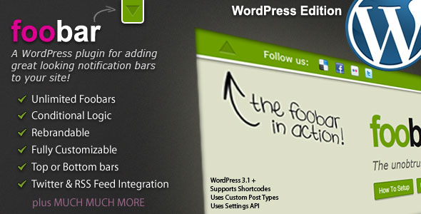 Foobar - WordPress Notification Bars Best Premium Notification Bar WordPress Plugin