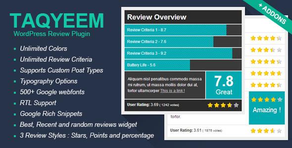 Taqyeem - WordPress Review Plugin Best Premium Reviews WordPress Plugin