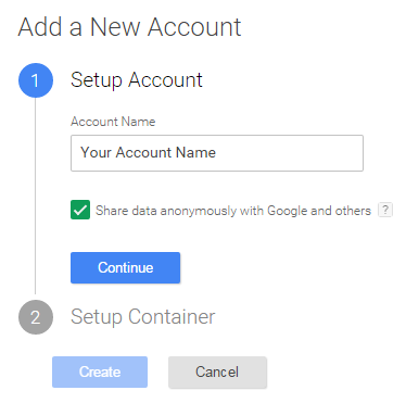 Google Tag Manager Account Setup Screen