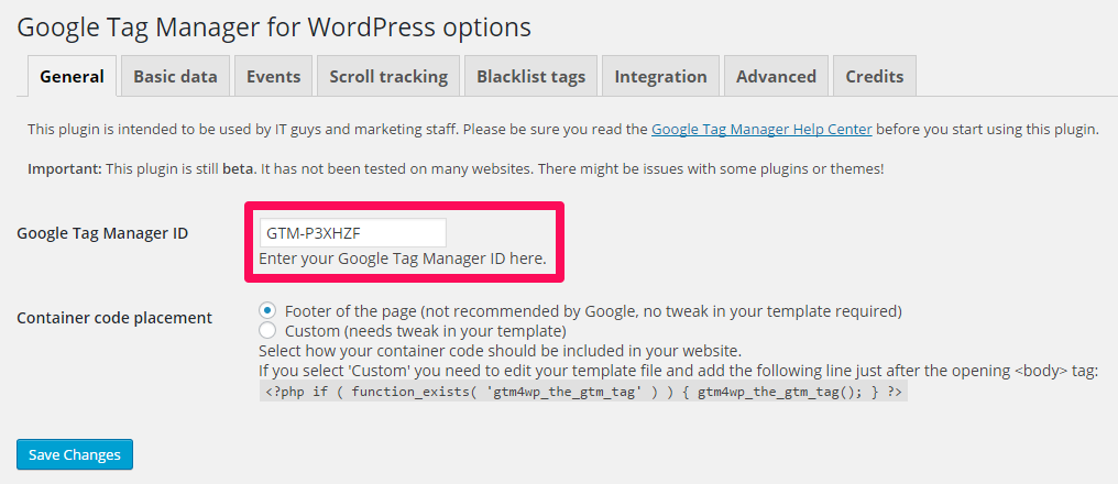 DuracellTomi's Google Tag Manager for WordPress General Settings Screen