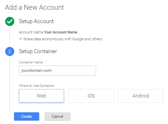 Setup Container Google Tag Manager