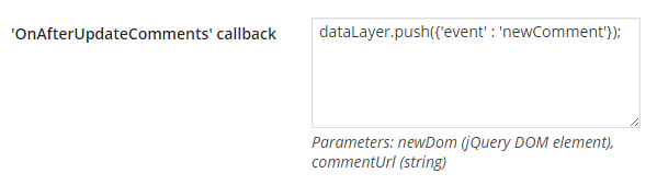 WP Ajaxify Comments newComment dataLayer event callback