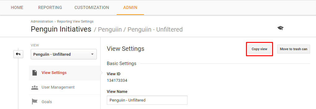 Copy Unfiltered Google Analytics View