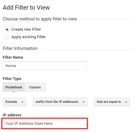 Filter Home IP Address Google Analytics