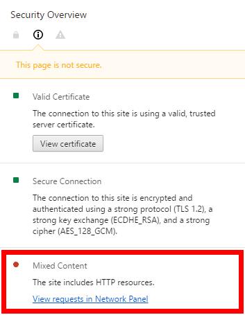 Google Chrome Mixed Content Error Message