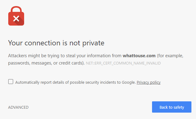 No SSL Chrome Error Message