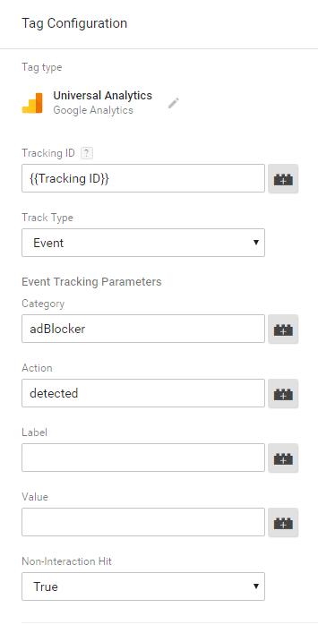 AdBlocker GTM Tag Settings
